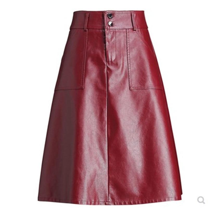 PU kožna Midi suknja Ženska uredska suknja jesen i zima 2019 PU suknje odijelo crne suknje visokog struka ženske plus velike veličine 4XL