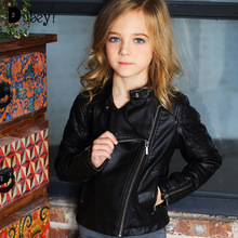 Childrens Leather Coat Autumn New Jacket Faux Fur for Boys Girls Long Sleeve Outfit  Kids