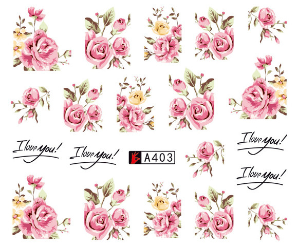 A403 Watermark Color Lettered Flower Pregnant Women Phototherapy Nail Sticker Nail Decals A385-420 Mr. Zhang