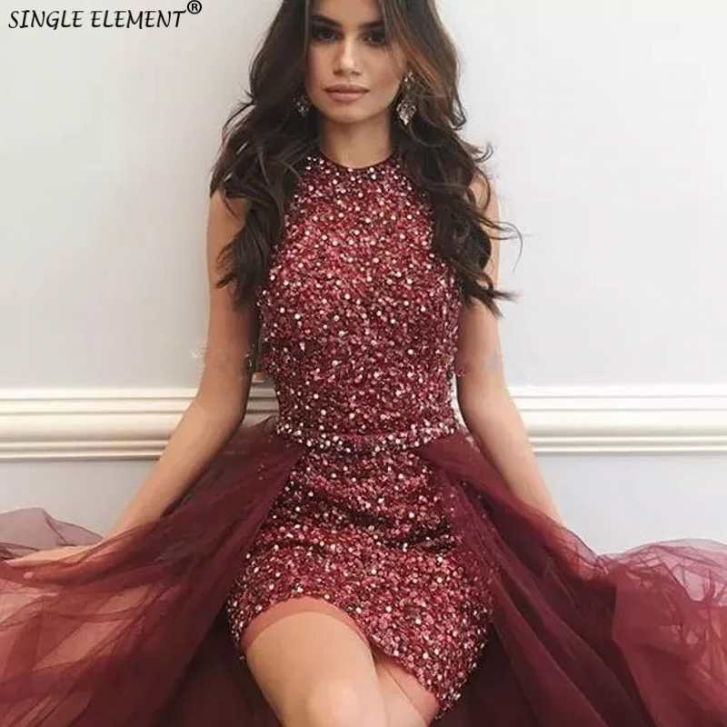Stunning Burgundy Sequined Beaded With Detachable Train Rhinestones Cocktail Dresses
