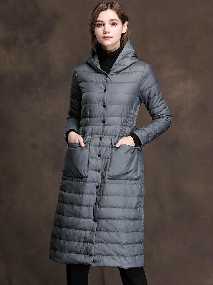 Winter Autumn AYUSNUE White Duck Down Women Hooded Korean Long Ultra Light Down Coat Female Puffer Jacket 2020 SMXM8037 KJ2941