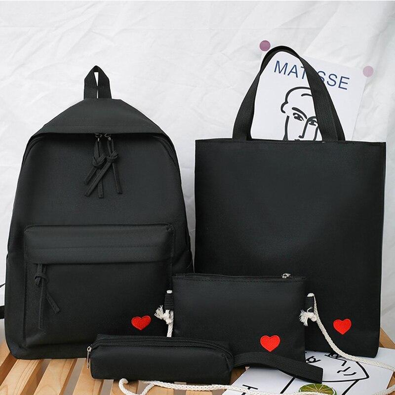 Image 4 - 4set Backpack For Teenage Girls Kids Children Student Women Backpack Booksbag Teen Shoulder Bag Child Schoolbag Mochilas FemaleBackpacks   -