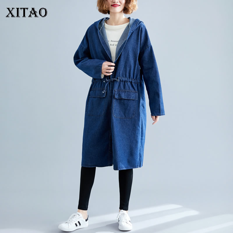 XITAO Plus Size Drawstring Bandage   Trench   Waist Slim Pocket Pleated Oversize Denim Coat Top Hooded Collar Full Sleeve GCC1796