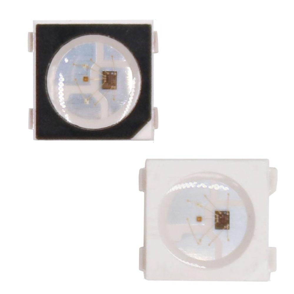 10-1000 pces ws2812b rgb conduziu a microplaqueta 5050smd ws2812 individualmente endereçável pixéis da microplaqueta preto/branco pwb dc5v