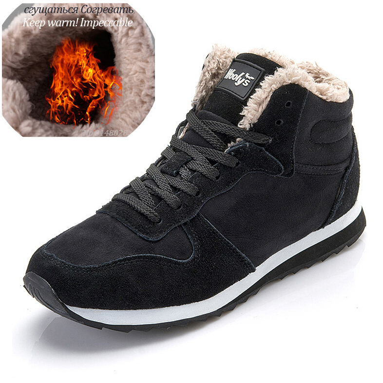 Men Shoes Classic Suede Leather Winter Sheos Footwear Keep Warm Winter Sneakers Plus Size 47 Chaussure Homme Men Casual Shoes