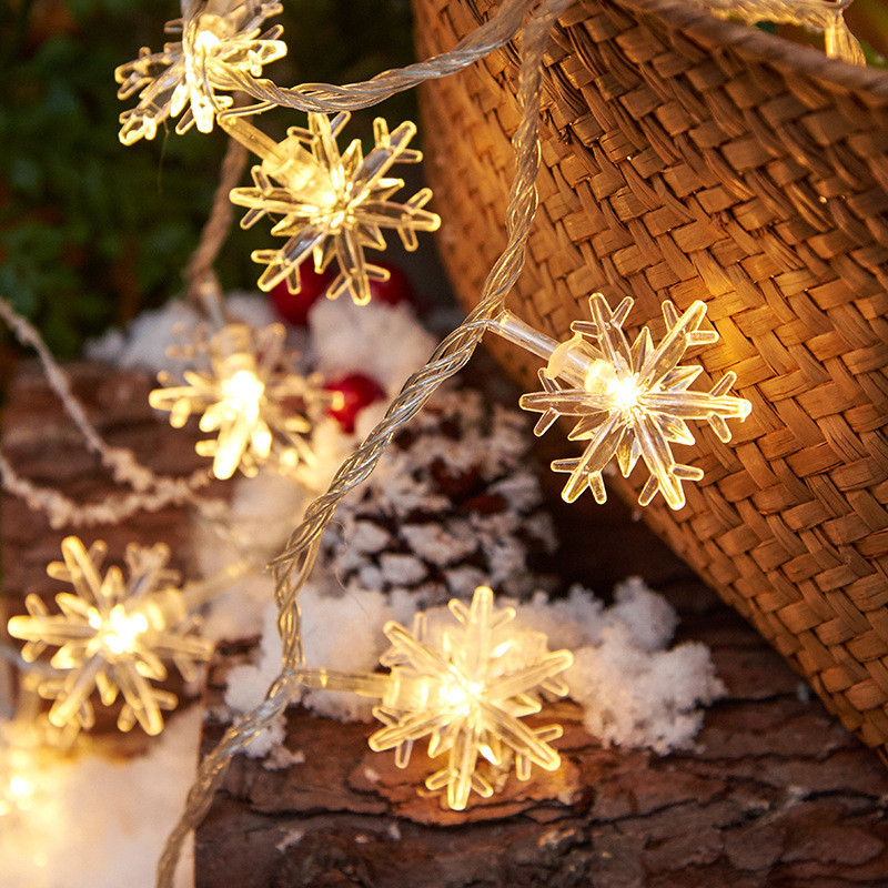 Snowflake LED Fairy String Lights Garland Lamp Home Decoration For Christmas Tree New Year Wedding Party Garden Battery USB EU