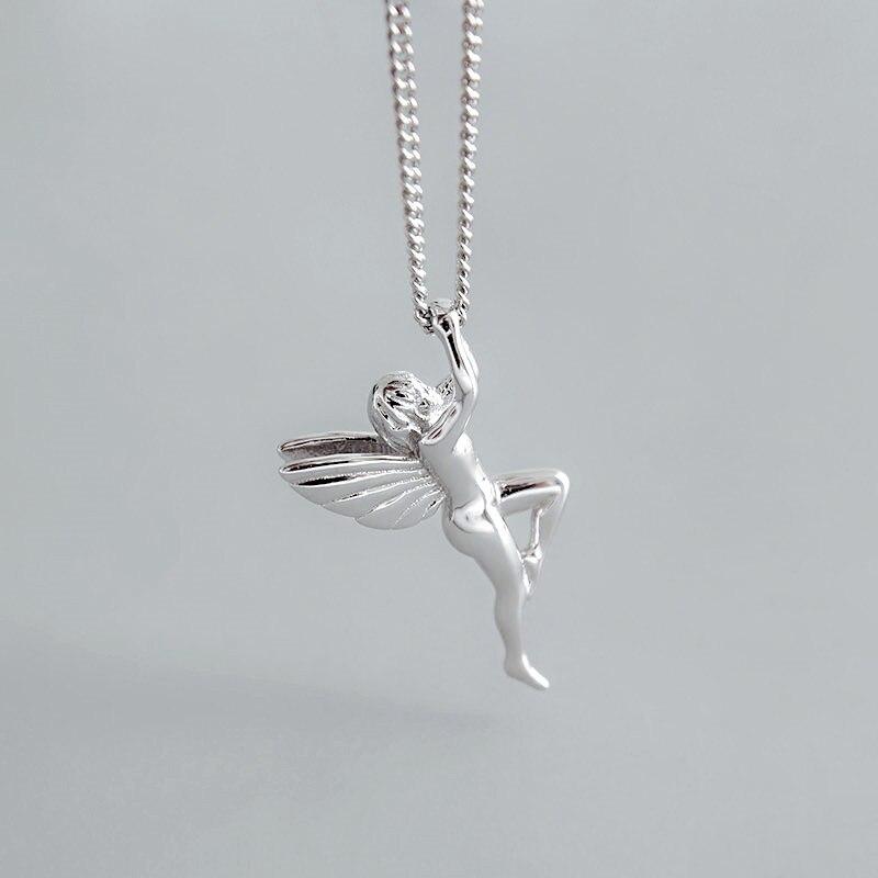 Elegant beautiful Silver angel necklace sparkle fairy tale
