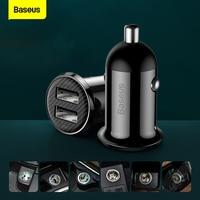 Baseus-Mini cargador USB Dual para coche, adaptador de carga rápida de 4.8A, 2 puertos, para teléfono móvil, tableta y coche