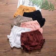 Bebê algodão plissado bloomers bonito do bebê fralda capa sólida shorts recém-nascidos da criança roupas de verão menino menina miúdo harem calças pp