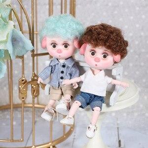 Image 2 - 1/12 bjd 26 siamese 15cm mini boneca nova porco sorte ob11 boneca com equipamentos sapatos conjunto de maquiagem presente brinquedo