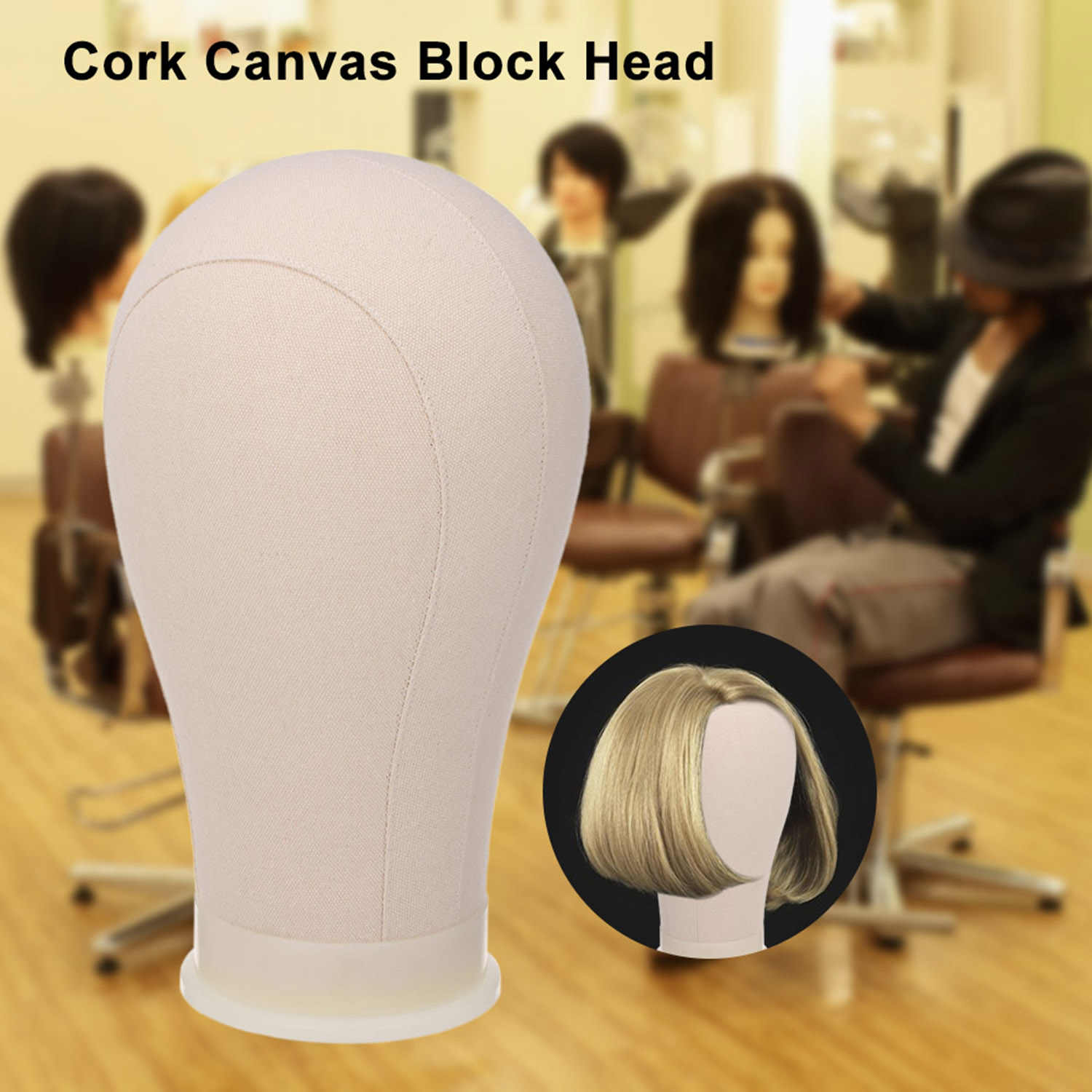 """21"""" Cork Canvas Block Head Mannequin Head Wig Hair Styling Hat Wig Display Stand Mannequin Manikin Head Model with 6 Tpins"""