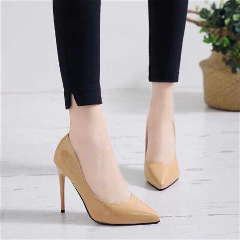 Merek Ukuran 35-44 Sepatu Wanita Sepatu Hak Tinggi Wanita Shoes 11 Cm Heels Pompa Sepatu Wanita Sepatu Hak Tinggi Seksi hitam Pernikahan Sepatu Stiletto
