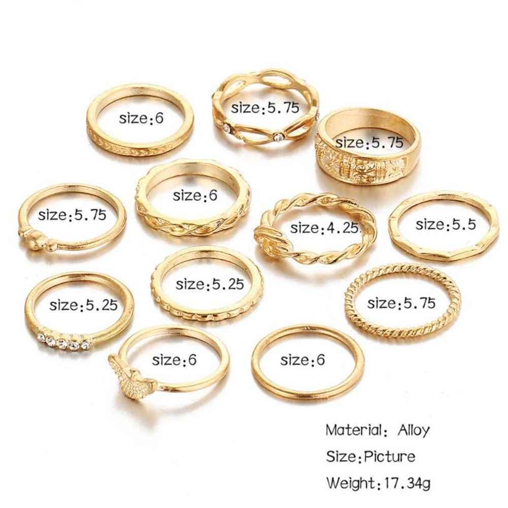 12 pçs/set feminino boêmio onda do vintage anel de flor conjunto para meninas charme anéis de ouro boho knuckle festa anéis jóias moda coração