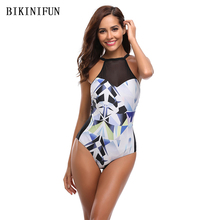 New Sexy Mesh Patchwork Swimsuit Solid Black One Piece Suit S-XL Girl High Neck Bathing Backless Padded Swimwear Monokini