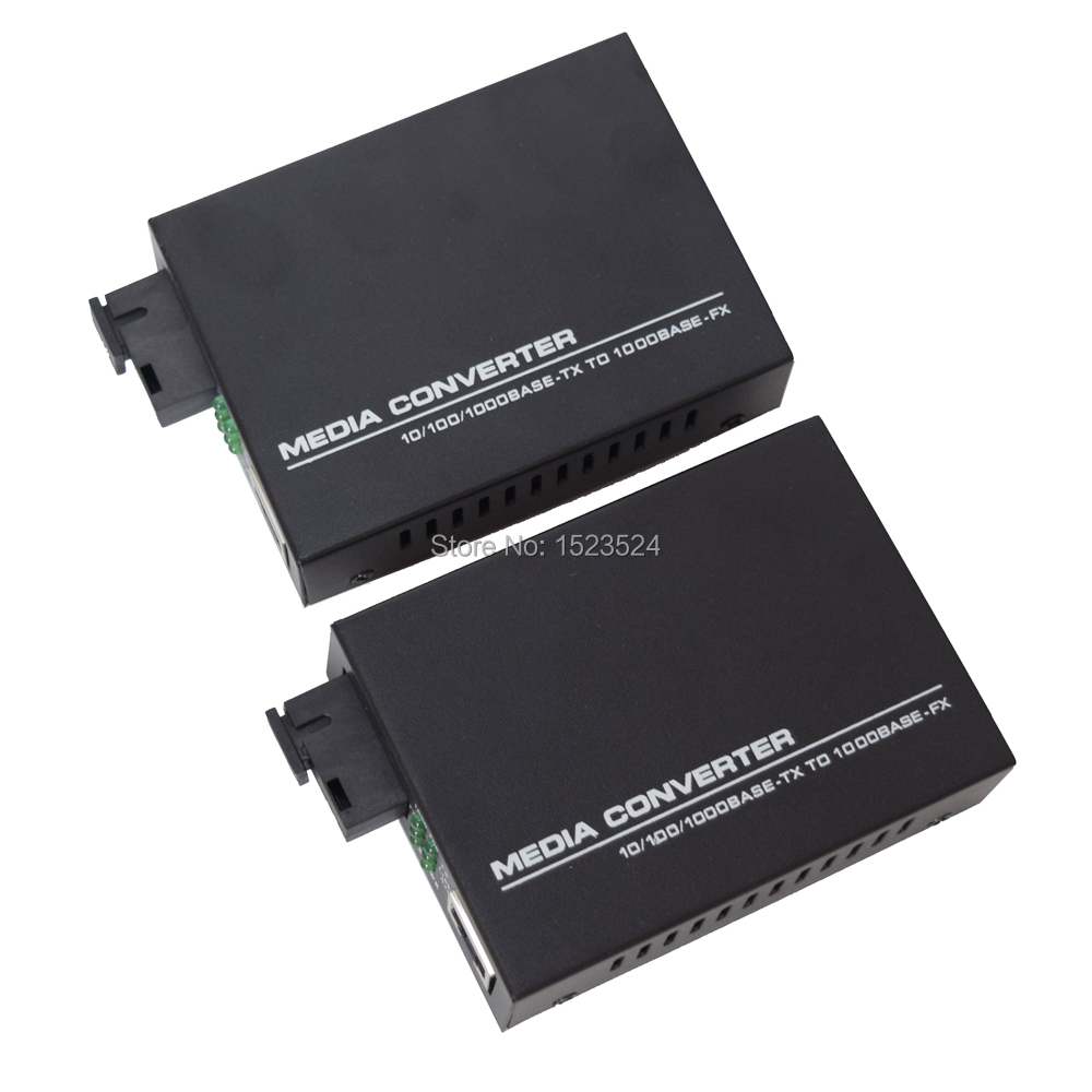 1 Pair Gigabit Fiber Optical Media Converter 10/100/1000Mbps Single Mode Single Fiber