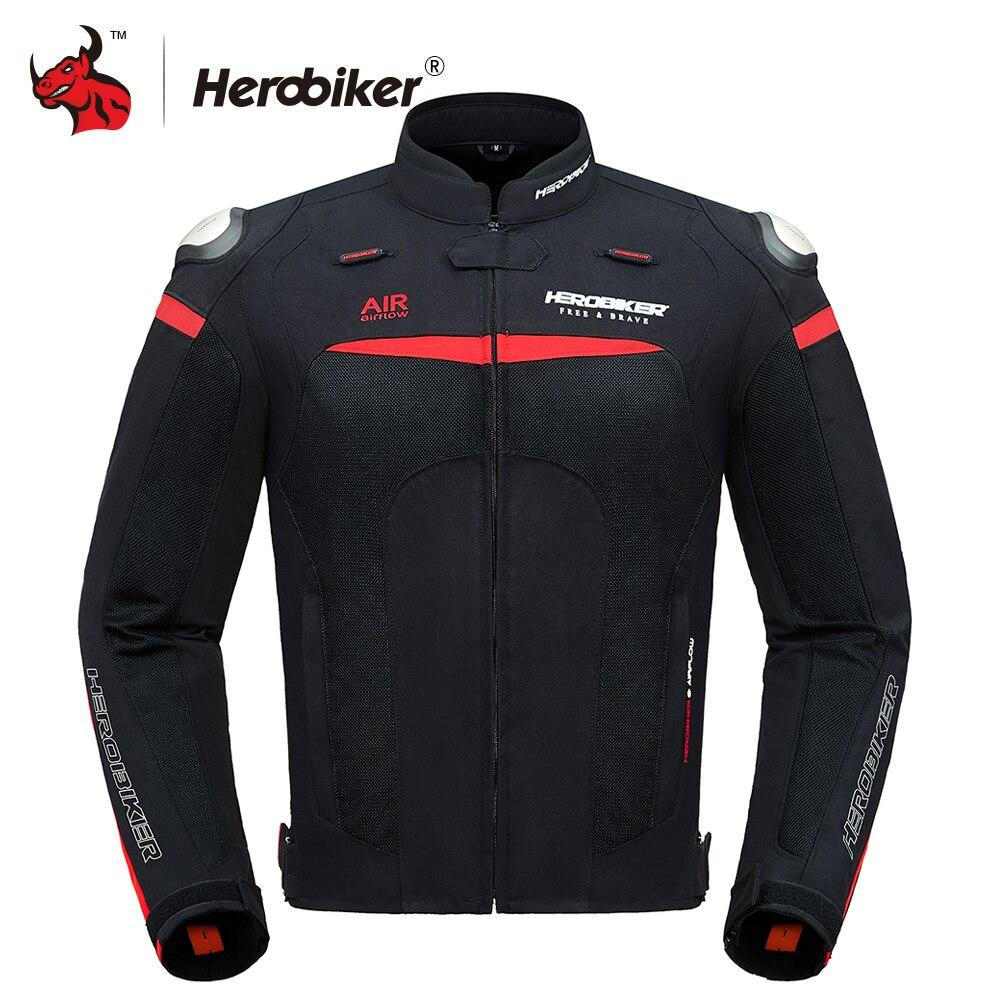 herobiker motocicleta jaqueta men verao malha respiravel motocross fora de estrada jaqueta de corrida protecao da