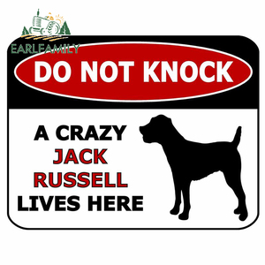 EARLFAMILY 13cm x 10cm For Do Jack Russell Warning Sign Car Repair Sticker Car Styling Decal Air Conditioner Funny Decoration