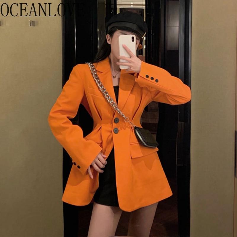 OCEANLOVE Office Lady Solid Slim Women Blazer Spring 2020 Work Fashion Blazer Feminino Notched Ins Chaqueta Mujer Slim 13764
