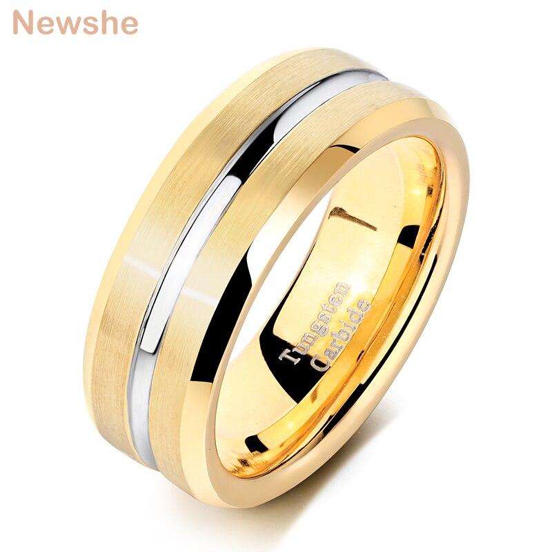 Newshe bague de mariage en carbure de tungstène pour hommes, bague avec rainure, bijoux à la mode, taille 9 à 13, taille 8mm TRX042  