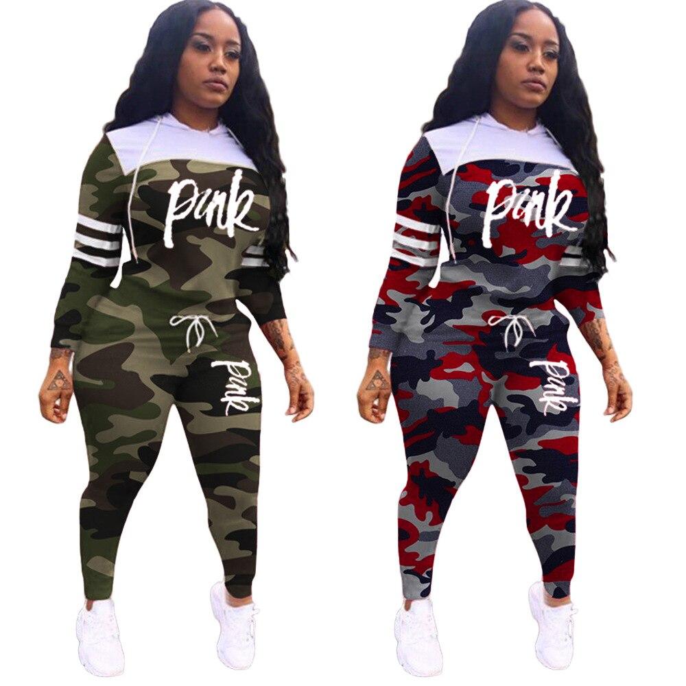 Pink Letter Print Tracksuits Plus Size 2 Piece Set Women Casual Sweatshirt Pants Sets 2019 Autumn Winter Pink Clothing Sets