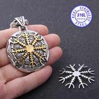 Yage acier inoxydable Viking argent et or Rune pendentif collier viking scandinave nordique viking collier hommes cadeau