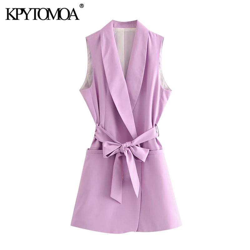 KPYTOMOA Women 2020 Fashion Office Wear Double Breasted Waistcoat Vintage Sleeveless With Belt Female Vest Outerwear Chic Tops