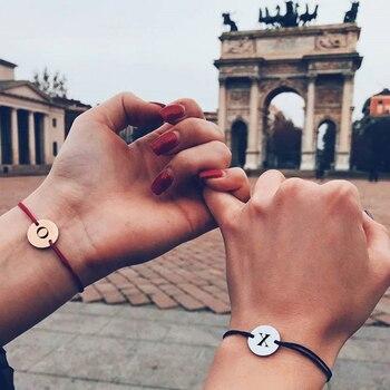 Custom name letter bracelet women Personalized Engraving Custom name  couples bracelet Stainless Steel red black rope bracelet natural black custom name lava