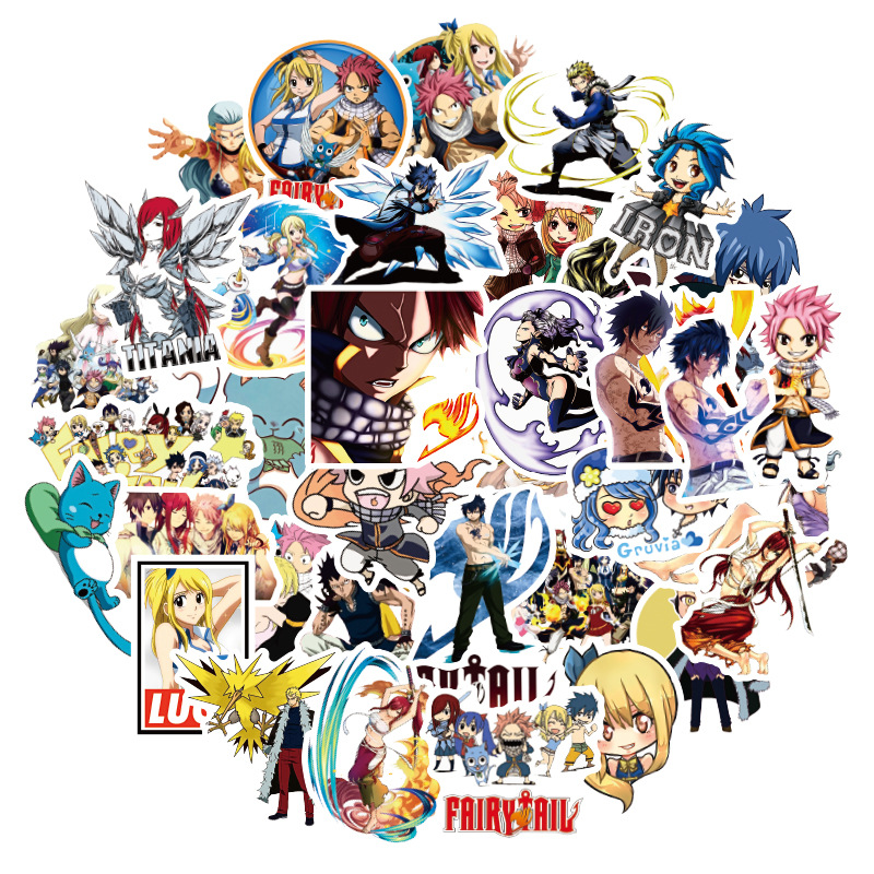 50Pcs Classic Japanese Animation Fairy Tail Sticker For Bike Motorcycle Skateboard Guitar Laptop Luggage Graffiti Sticker