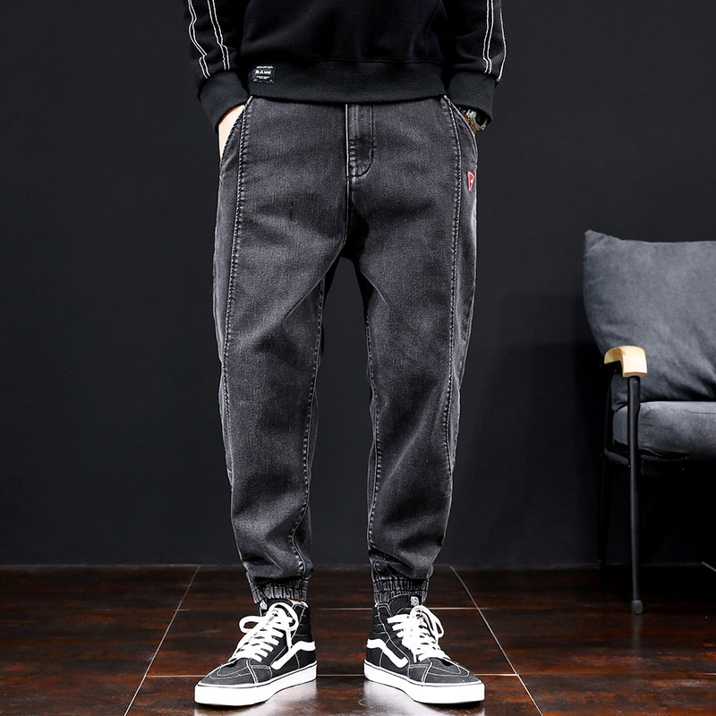 Japanese Style Fashion Men Jeans Black Gray Loose Fit Spliced Harem Pants Size 28-42 Streetwear Hip Hop Jeans Men Joggers Pants