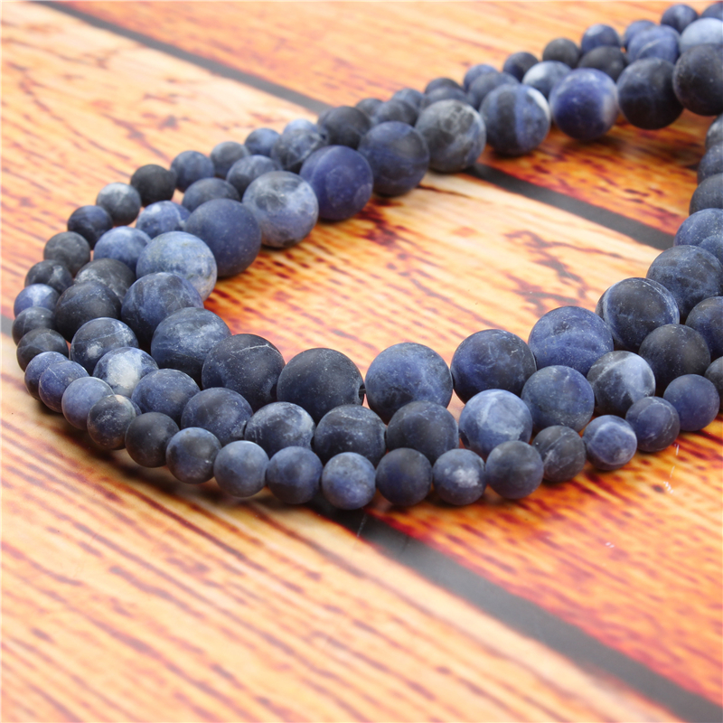 Frosted Blue Stone Natural Stone Bead Round Loose Spaced Beads 15 Inch Strand 4/6/8/10/12mm For Jewelry Making DIY Bracelet