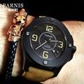 Casual Parnis 44mm Zifferblatt Schwarz herren Uhr Automatische Mechanische Leucht Miyota 821A Bewegung Männer Uhren relogios masculino box-in Mechanische Uhren aus Uhren bei