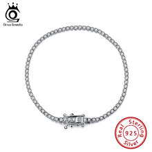 ORSA JEWELS Authentic 925 Sterling Silver Tennis Bracelets Pave Clear Cubic Zircon Silver Bangle Girls Party Jewelry Chain SB61