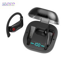 Seovo wireless earphones 5.0 tws stereo digital power display ear hook handsfree Noise Reduction HIFI sport earphone charger