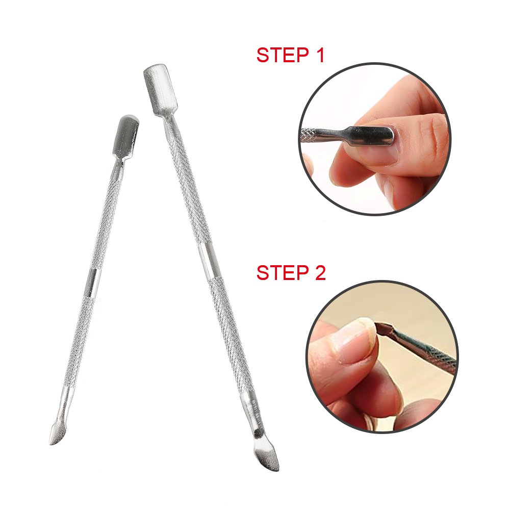 ELECOOL Cuticle Pusher Stainless Steel Cuticle Double Sided Nail Care Pusher Dead Skin Manicure Tools Nail Pusher Spoon Remover