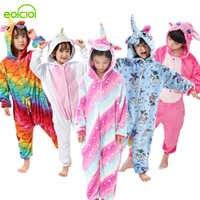 Flanela crianças kigurumi pijamas definir inverno com capuz animal unicórnio pikachu ponto pijamas para meninos meninas pijamas onesies