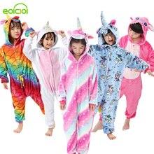 Flanelowe dzieci kigurumi piżamy zestaw zimowy z kapturem zwierząt jednorożec Panda dzieci piżamy dla chłopców dziewcząt ubrania piżamy Onesies
