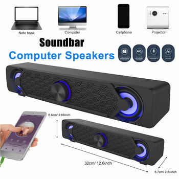 3.5mm USB Wired Powerful LED Computer Speakers Stereo Sound Bar Subwoofer Bass Speaker for PC Desktop Laptop Phone Tablet MP4 1
