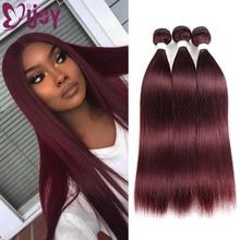 Human-Hair Weave Bundles Hair-Extensions IJOY Straight 99j/burgundy Brazilian Pre-Colored