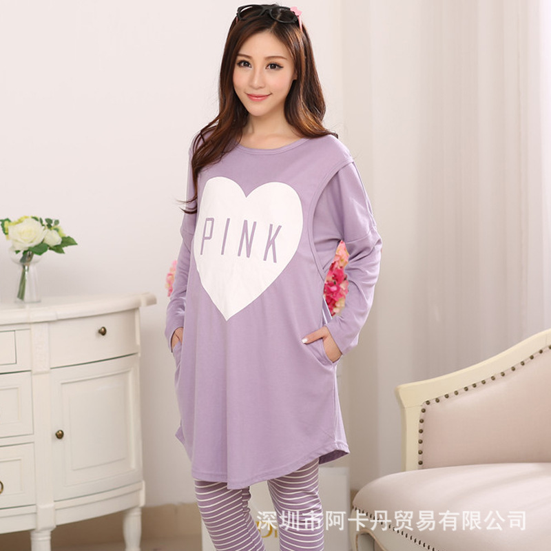 Confinement Clothing Autumn & Winter Pure Cotton Maternity Clothes Pajamas Spring And Autumn Nursing Clothes Nursing Clothing Po