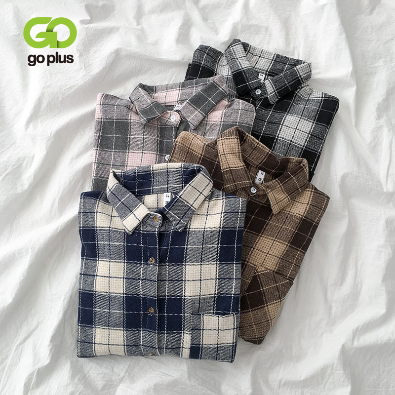GOPLUS Winter Women's Blouse Shirt Vintage Plaid Turn-down Collar Long Sleeve Blusas Womens Tops And Blouses Ropa Mujer