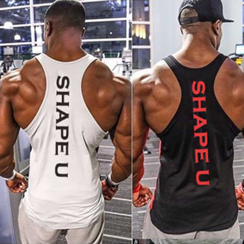 Solide Gym Männer Stringer Tank Top Bodybuilding Fitness Singuletts Muscle Weste T basketball jersey