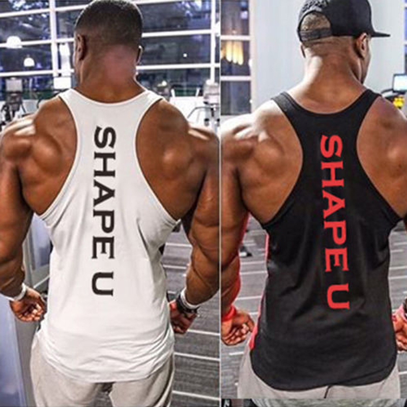 Solid Gym Men Stringer Tank Top Bodybuilding Fitness Singlets Muscle Vest Tee Basketball Jersey