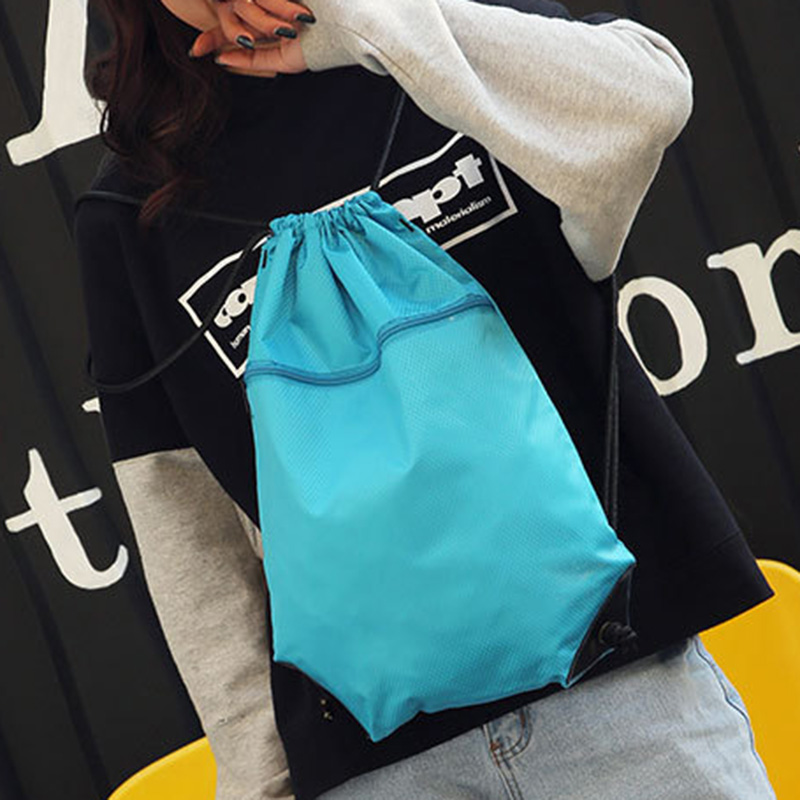 Simple Sports Drawstring Bag Backpack Men Women Soccer Shoes Bag Fitness Training Travel Lightweight Backpack C55