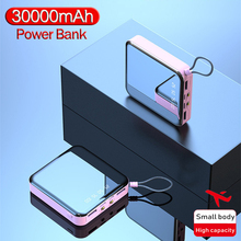 30000mAh Power Bank Mini Mirror Screen Portable Phone Charge