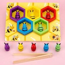 Nuovo Pendente di Legno Educatinal Giocattoli Per Bambini Montessori Educazione Precoce Alveare Gioco Infanzia Colore Cognitivo Clip di Piccola Ape Giocattolo