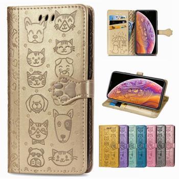 Los casos femenino para Xiaomi para Redmi 7 perro huellas celular de...