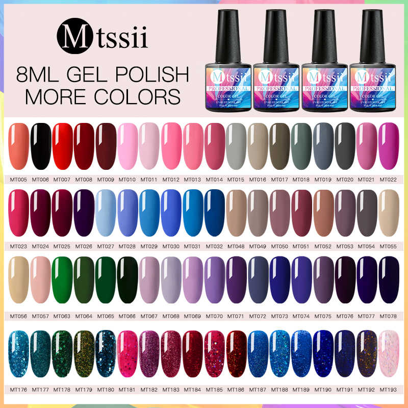 Mtssii 8 Ml Nail Gel Polish UV LED Gel Lacquer Murni Glitter Payet Tahan Lama Hybrid Rendam Off Nail Art gel Kuku Pernis