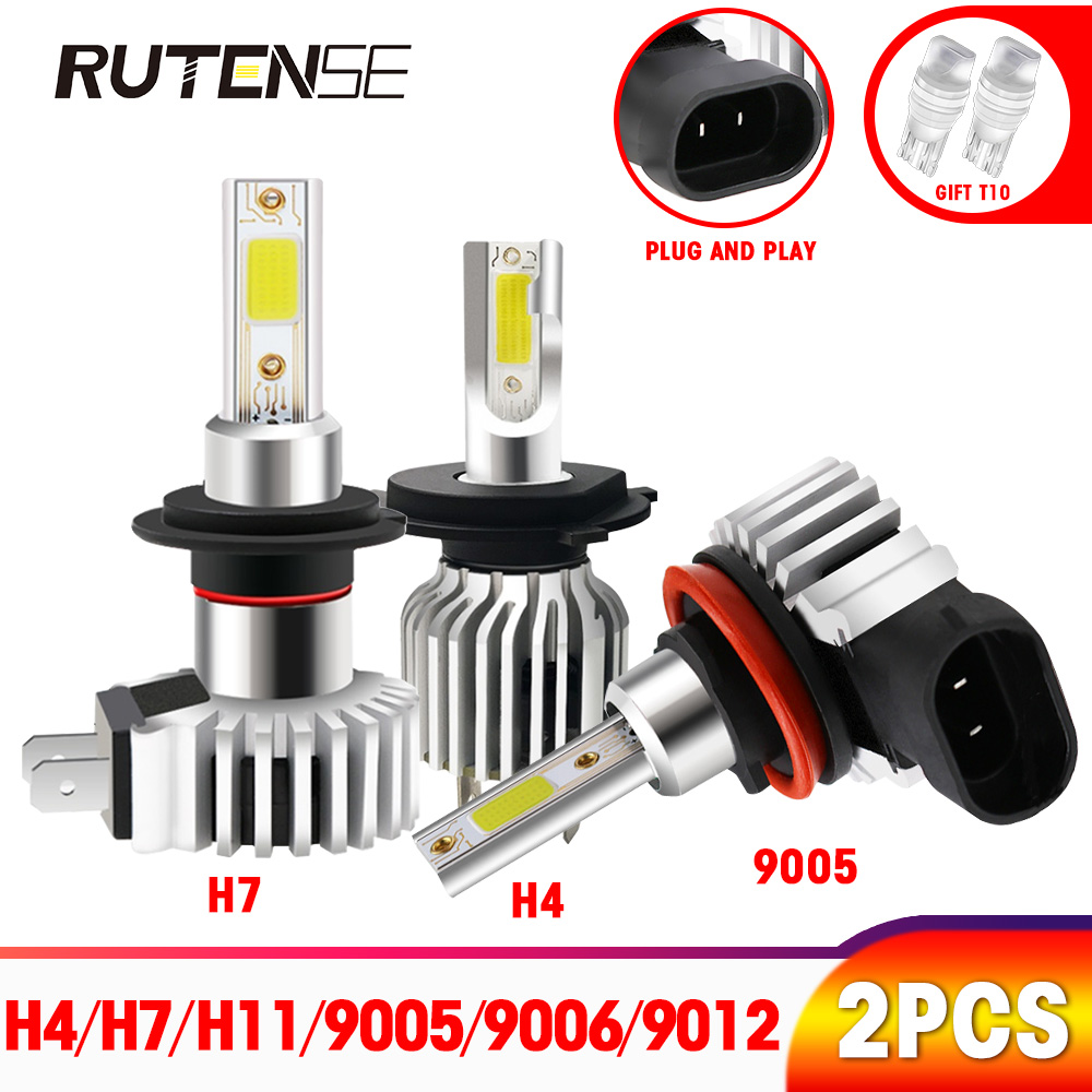 2X car headlight bulbs <font><b>H4</b></font> <font><b>led</b></font> H7 H11 H1 H3 880 9005 hb3 9006 hb4 H8 H9 9012 HIR2 auto COB <font><b>led</b></font> h7 fog light 12V 6000K 72W <font><b>10000lm</b></font> image