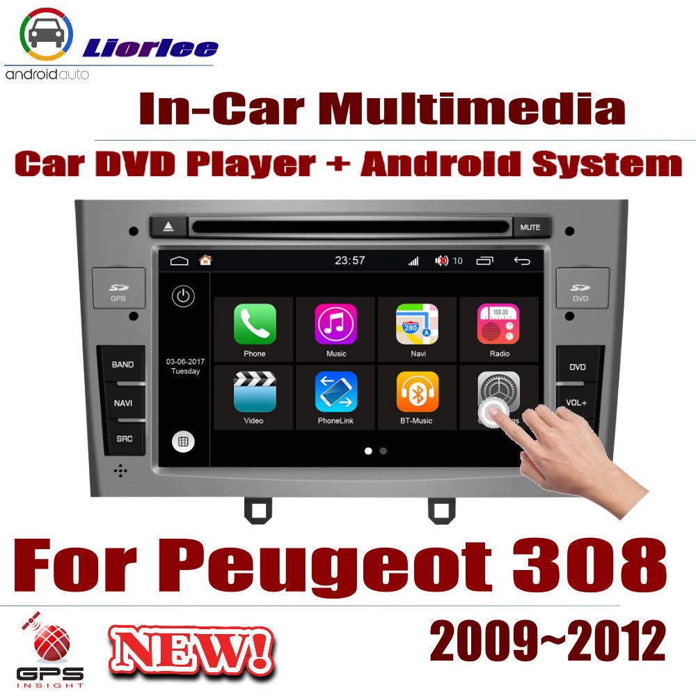 Car DVD Player For <font><b>Peugeot</b></font> <font><b>308</b></font> 2009-2012 IPS <font><b>LCD</b></font> Screen GPS Navigation Android System Radio Audio Video Stereo image