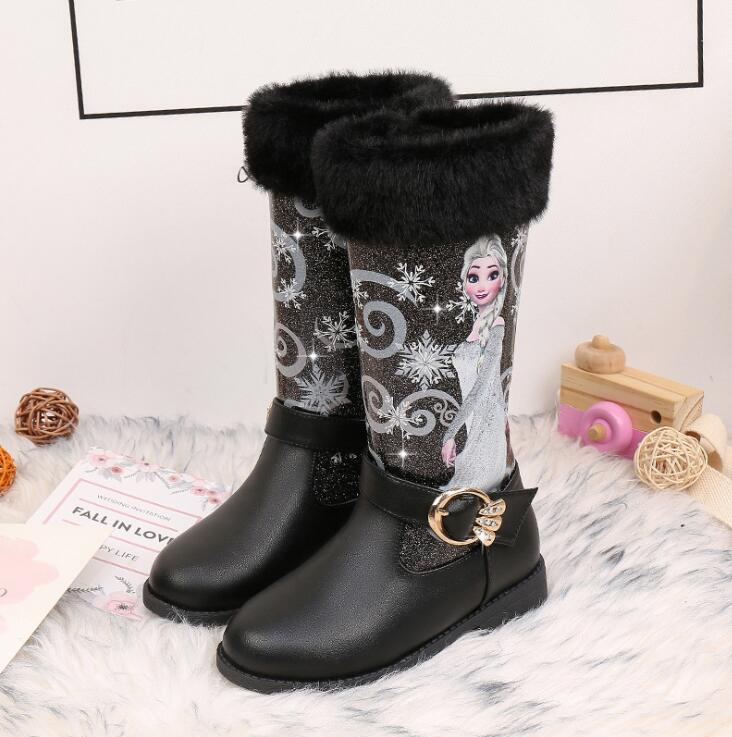 Kids Princess Shoes Children Cartoon Boots PU Leather Sequin Winter Boots New Girls Genuine Elsa Wool Warming Boots Size 25-35